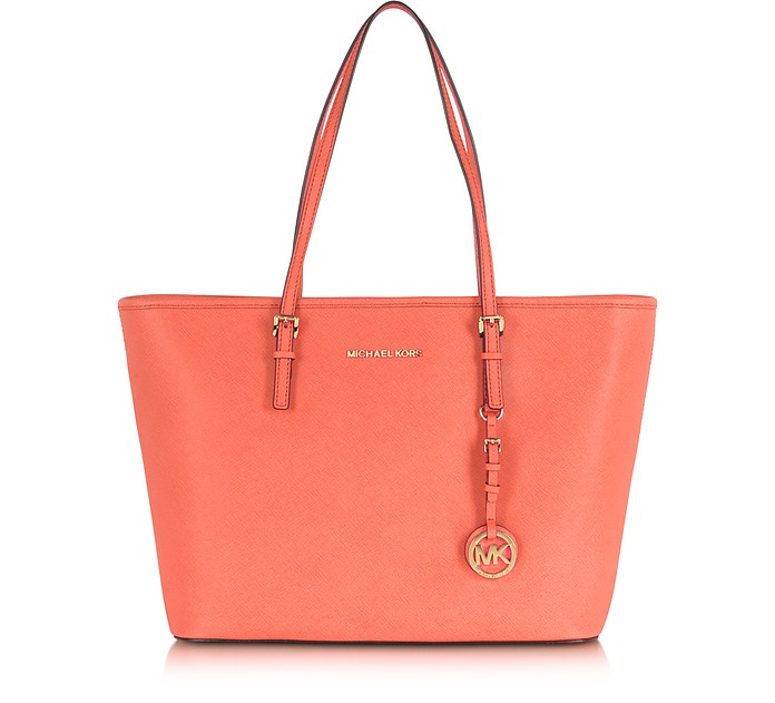 Jet Set Travel Pink Grapefruit Saffiano Leather Top Zip Tote  - Michael Kors