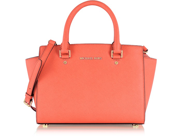 Selma Medium Messenger aus Saffianleder in pink-grapefruit - Michael Kors