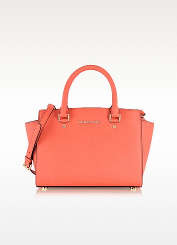 Pink Grapefruit Selma Medium Saffiano Leather Top-Zip Satchel - Michael Kors