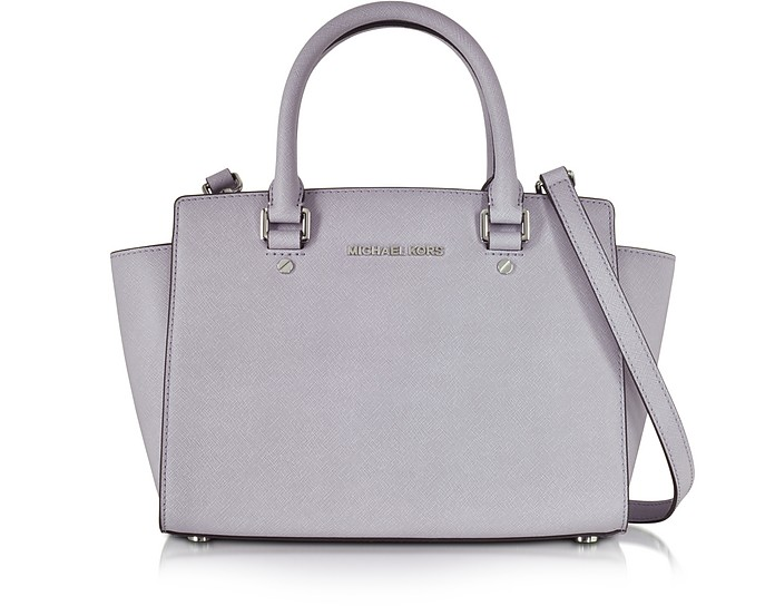 Medium Selma Lilac Saffiano Leather Top-Zip Satchel  - Michael Kors