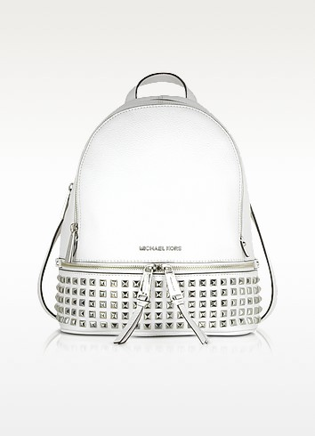 Optic White Rhea Zip Small Studded Leather Backpack - Michael Kors