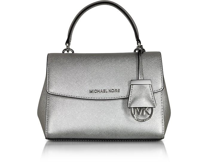 Ava Silver Saffiano Leather XS Crossbody Bag - Michael Kors