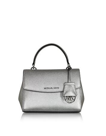 Michael Kors - Ava Silver Saffiano Leather XS Crossbody Bag