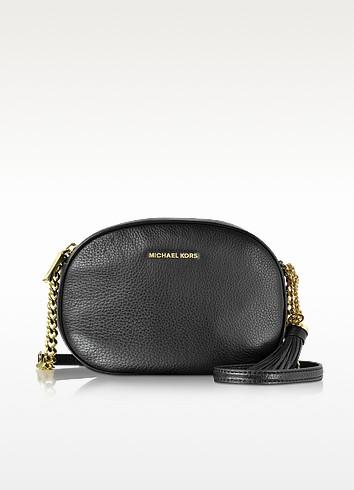 Ginny Black Pebble Leather Medium Messenger - Michael Kors
