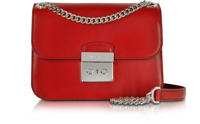 Sloan Editor Medium Bright Red Leather Chain Shoulder Bag - Michael Kors