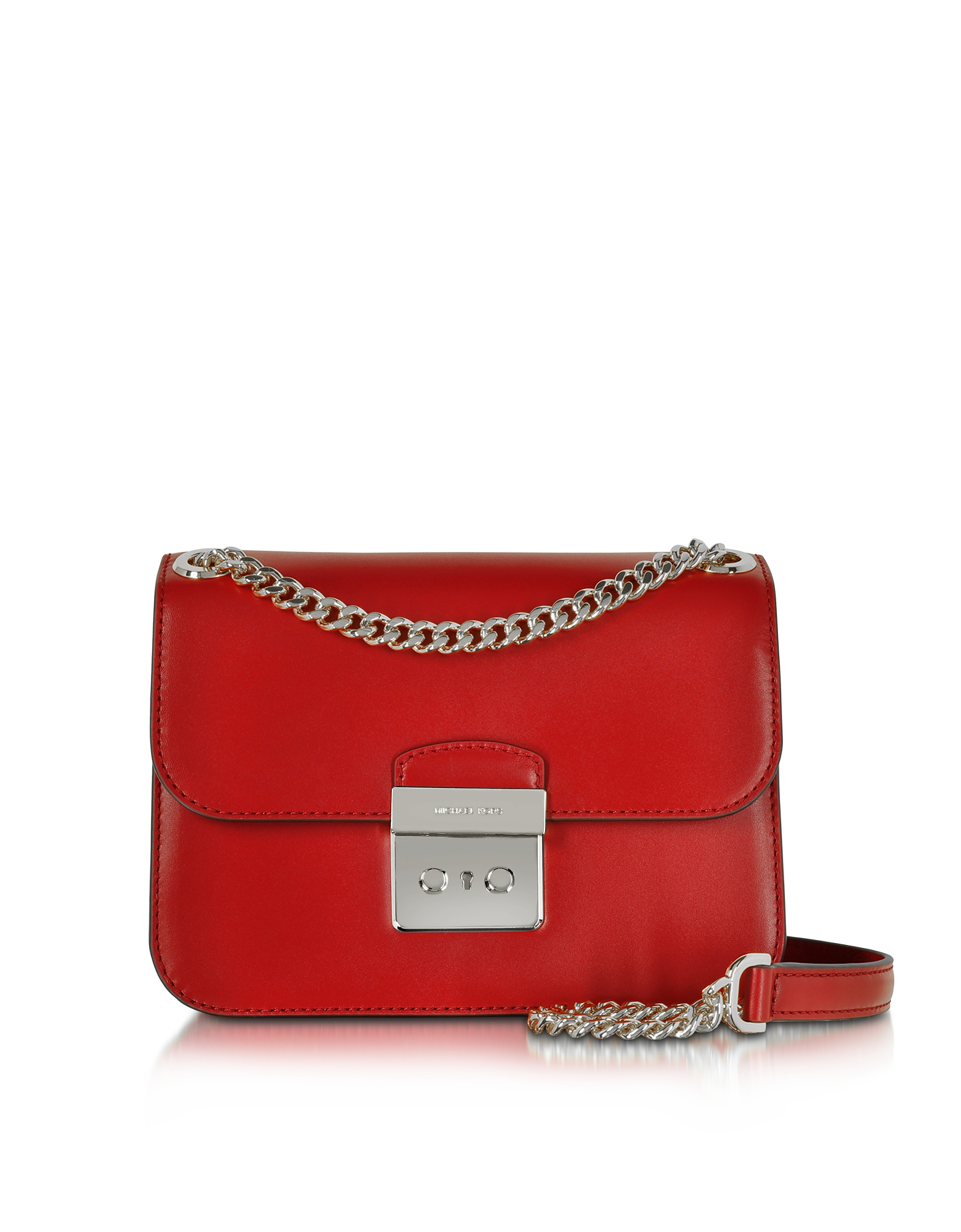 Michael Kors Sloan Editor Medium Bright Red Leather Chain Shoulder Bag