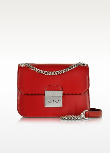 Sloan Editor Medium Bright Red Leather Chain Shoulder Bag - Michael Kors