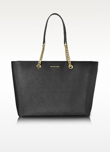 Jet Set Travel Chain Medium Black T/Z Saffiano Leather Multifunction Tote - Michael Kors
