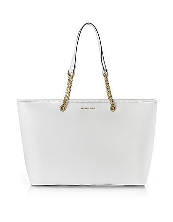 Michael Kors - Jet Set Travel Chain Medium Optic White T/Z Saffiano Leather Multifunction Tote