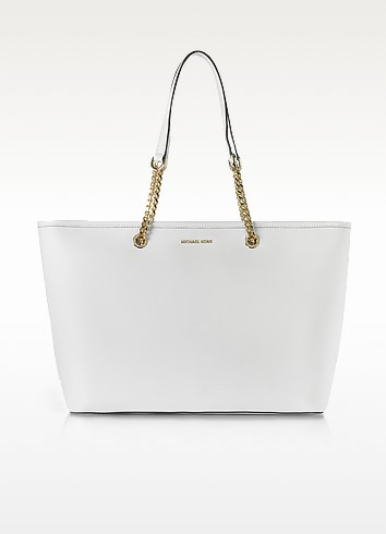 Jet Set Travel Chain Medium Optic White T/Z Saffiano Leather Multifunction Tote - Michael Kors