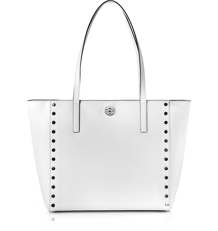 Optic White Studded Leather Rivington Large Tote Bag - Michael Kors