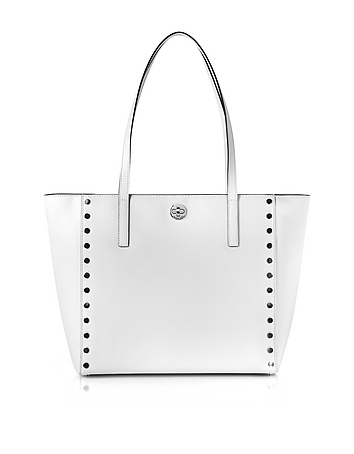 Michael Kors - Optic White Studded Leather Rivington Large Tote Bag