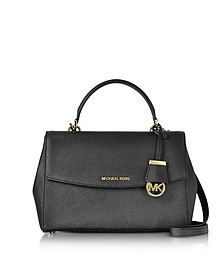 Ava Medium Black Saffiano Top Handle Satchel - Michael Kors