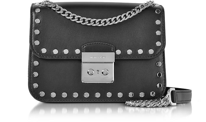 Sloan Editor Medium Black Leather Chain Shoulder Bag w/Studs - Michael Kors