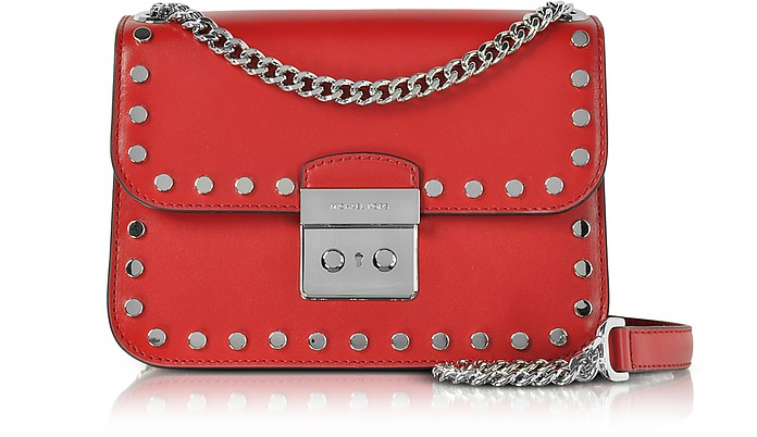 Sloan Editor Medium Bright Red Leather Chain Shoulder Bag w/Studs - Michael Kors