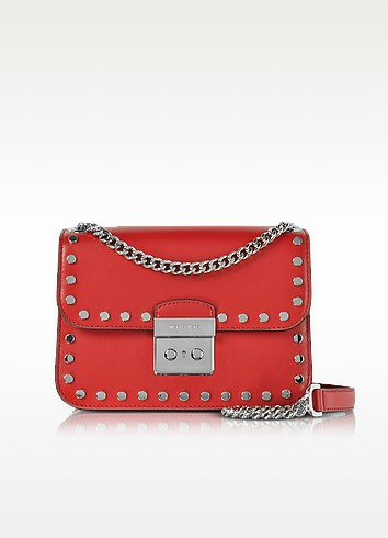 Sloan Editor Medium Bright Red Leather Chain Shoulder Bag w/Studs - Michael Kors