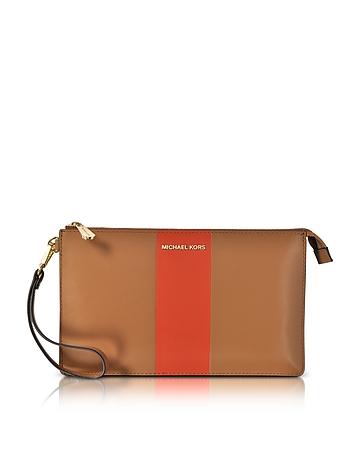 Michael Kors - Acorn & Orange Large Daniela Center Stripe Leather Zip Clutch