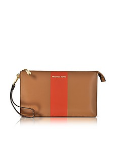Acorn & Orange Large Daniela Center Stripe Leather Zip Clutch - Michael Kors