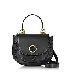 Isadore Medium Top Handle Black Pebble Leather Messenger Bag - Michael Kors