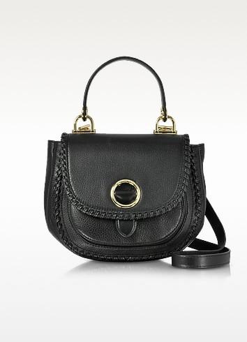 Isadore Medium Top Handle Black Pebble Leather Messenger Bag - Michael Kors