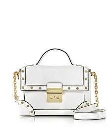 Cori Optic White Pebble Leather Small Trunk Bag w/Studs - Michael Kors