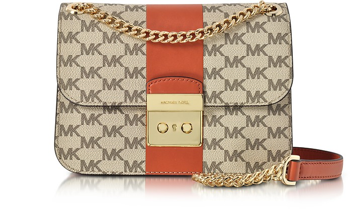 Sloan Editor Medium Center Stripe and Heritage Signature Chain Shoulder Bag - Michael Kors