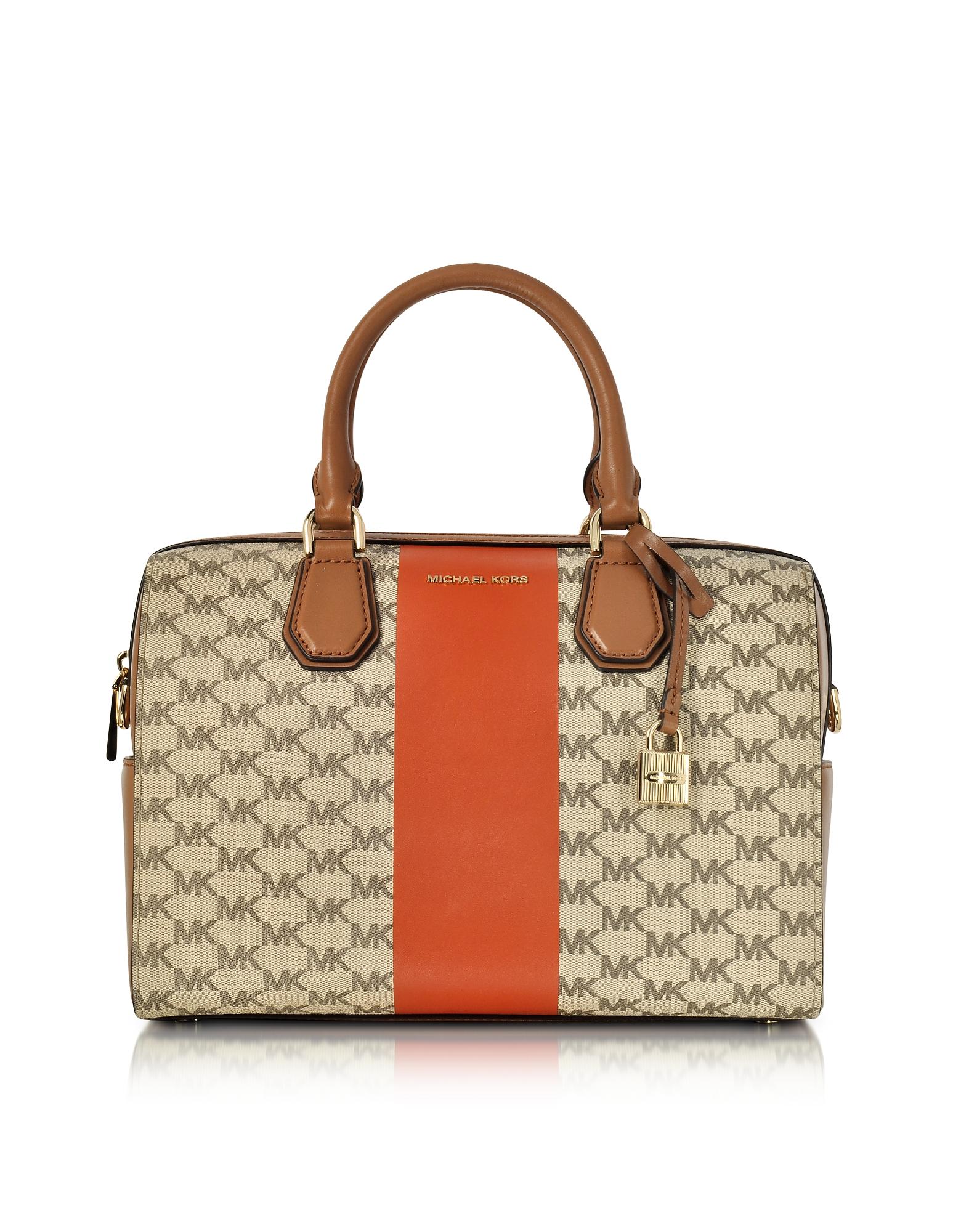 Michael Kors Mercer Medium Center Stripe and Heritage Signature Duffle Bag