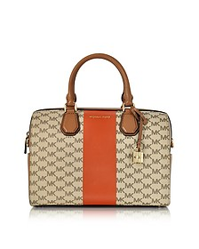 Mercer Medium Center Stripe and Heritage Signature Duffle Bag - Michael Kors