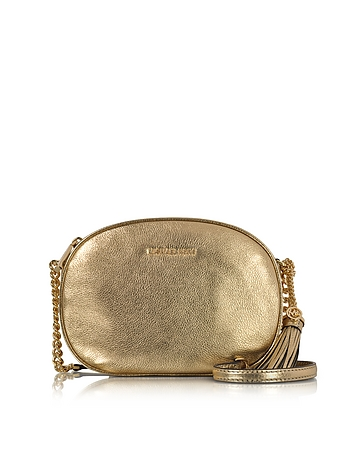 6712e6e3c642 Ginny Pale Gold Pebble Leather Medium Messenger Bag from Michael Kors at  FORZIERI Official Site