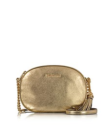 Ginny Pale Gold Pebble Leather Medium Messenger Bag - Michael Kors