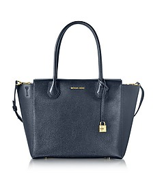 Mercer - Grand Sac à Main en Cuir Grainé Bleu Marine - Michael Kors
