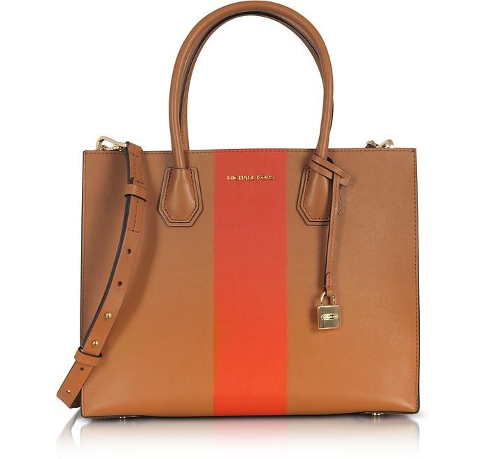 Mercer Large Acorn & Orange Center Stripe Leather Convertible Tote Bag - Michael Kors