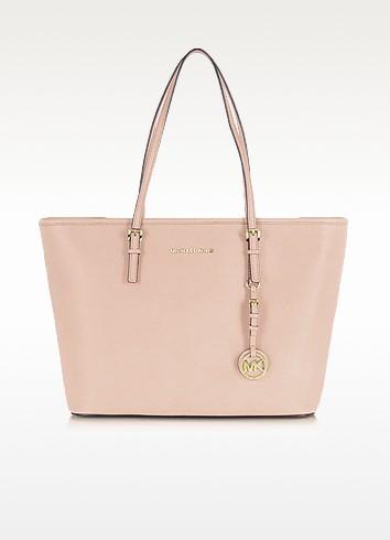 Jet Set Travel Soft Pink Saffiano Leather Top Zip Tote - Michael Kors