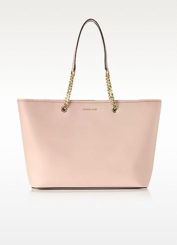 Jet Set Travel Chain Medium Soft Pink T/Z Saffiano Leather Multifunction Tote - Michael Kors