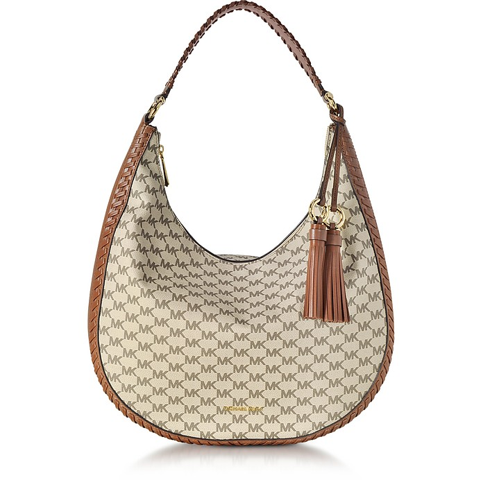 Lauryn Large Natural and Luggage Pebble Leather Shoulder Bag - Michael Kors