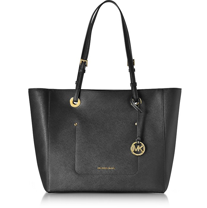 Walsh Large Black Saffiano Leather EW Top-Zip Tote - Michael Kors