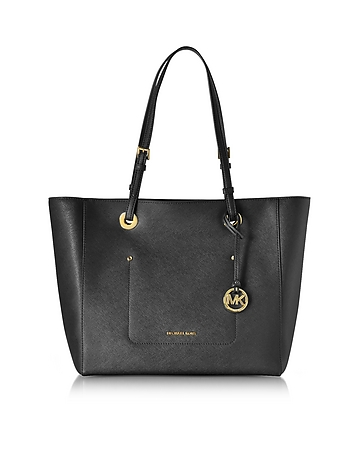 Michael Kors - Walsh Large Black Saffiano Leather EW Top-Zip Tote