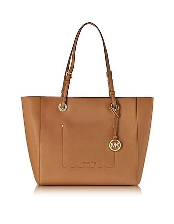 Walsh Large Acorn Saffiano Leather EW Top-Zip Tote