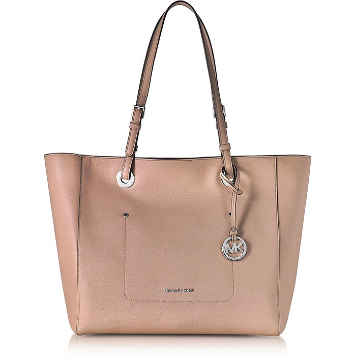 Walsh Large Fawn Saffiano Leather EW Top-Zip Tote - Michael Kors