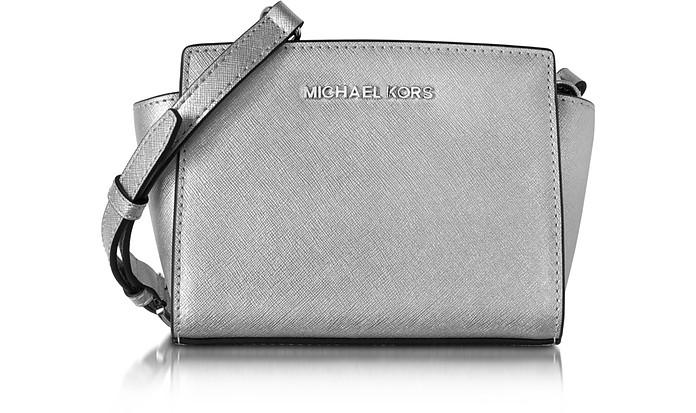Selma Silver Saffiano Leather Mini Messenger - Michael Kors