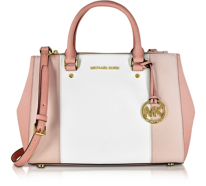 Sutton Tricolor Medium Saffiano Leather Satchel Bag - Michael Kors