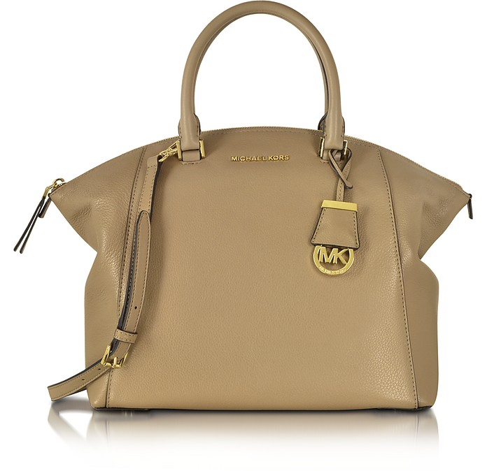 Riley Dark Khaki Leather Large Satchel Bag - Michael Kors
