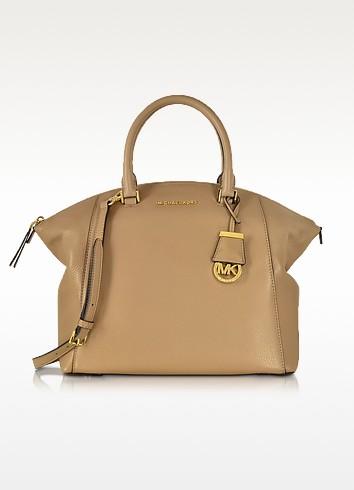 Riley Dark Khaki Leather Large Satchel Bag - Michael Kors