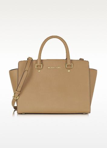 Selma Dark Khaki Saffiano Leather Large Satchel Bag - Michael Kors