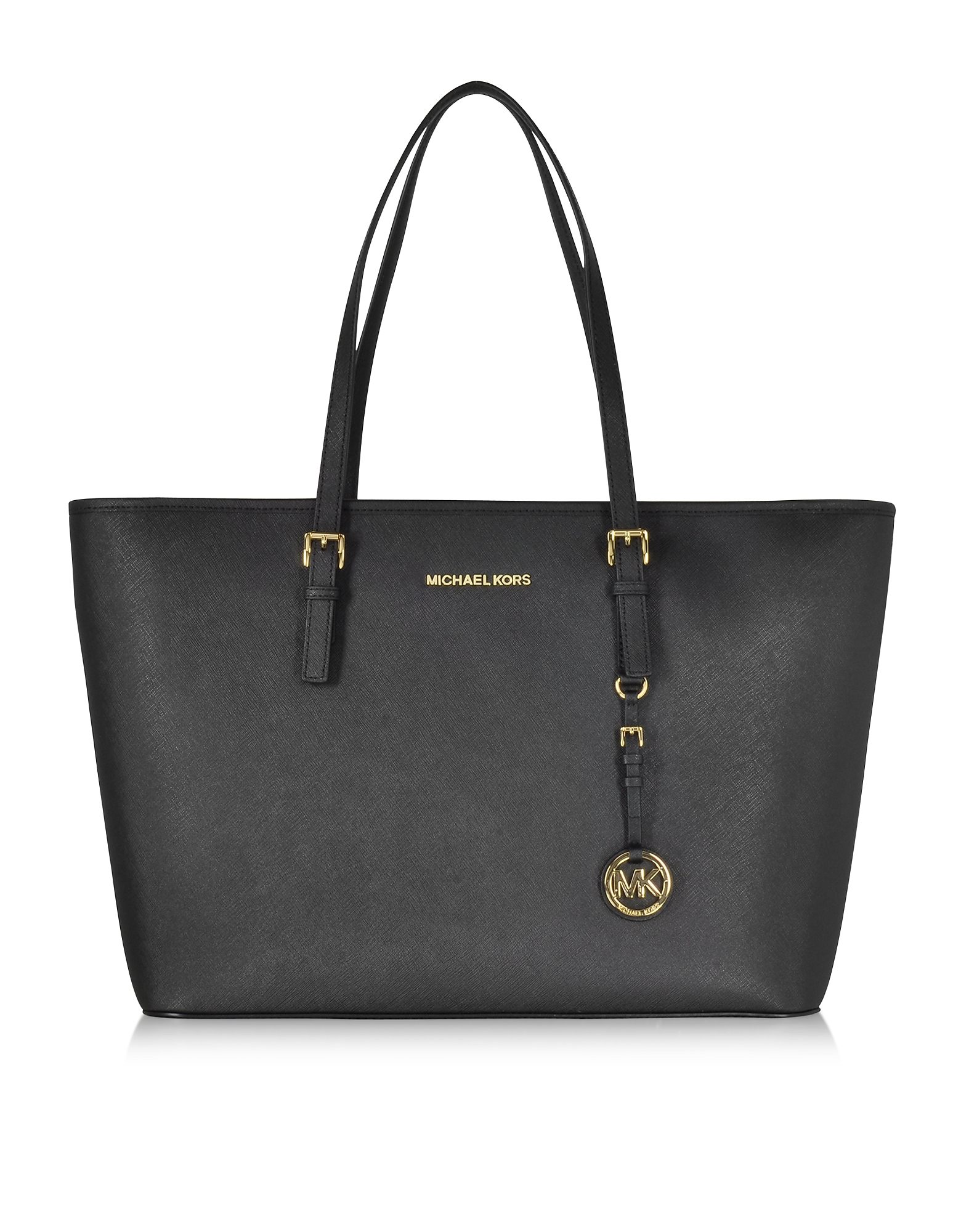 Michael Kors Handbags, Black Jet Set Travel Saffiano Leather Medium T Z Tote
