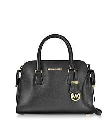Harper Black Glazed Ranch Leather Medium Satchel Bag - Michael Kors