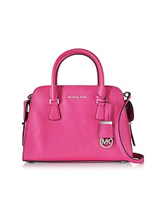 Harper Raspberry Glazed Ranch Leather Medium Satchel Bag - Michael Kors