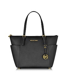 Jet Set Item Black Saffiano Leather EW Top-Zip Tote - Michael Kors