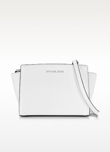 Selma Optic White Saffiano Leather Medium Messenger Bag - Michael Kors