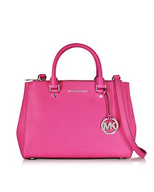 Sutton Raspberry Saffiano Leather Medium Satchel Bag - Michael Kors